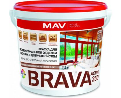 Краска BRAVA ACRYL 35D. Для окон и дверей. Белая. Полуглянец. 1.0л/1.1кг. РБ
