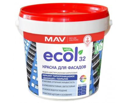 Краска ECOL 32 для фасадов (ВД-АК-1032) белая. 1л/1,4кг